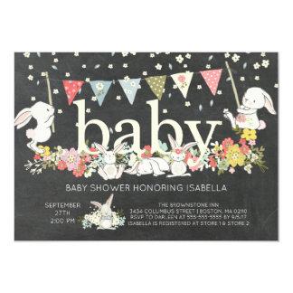 Chalkboard Bunny Neutral Baby shower Invitation