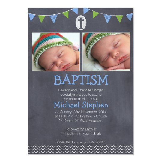 Chalkboard Bunting Chevron Baptism Invitation Boy
