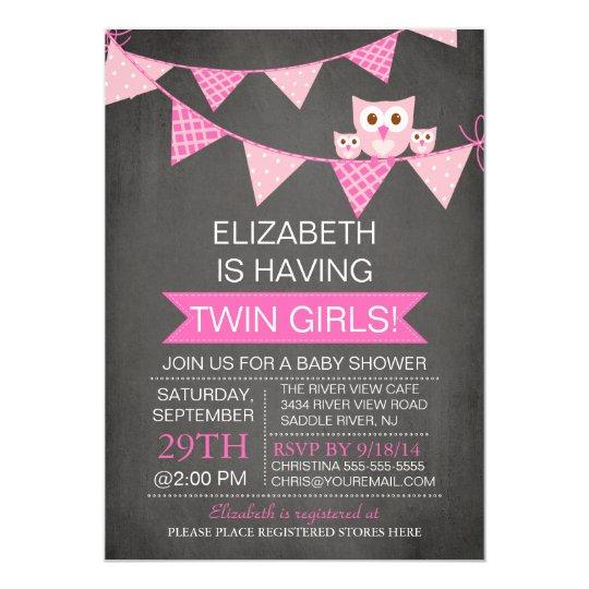 Chalkboard Bunting Owl TWIN GIRLS Baby Shower Card