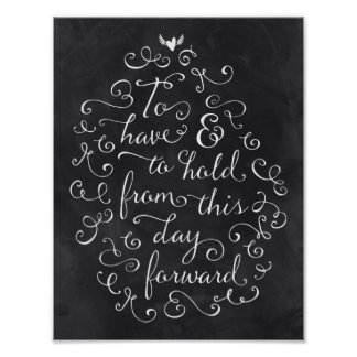 Chalkboard Calligraphy Wedding Vows Poster