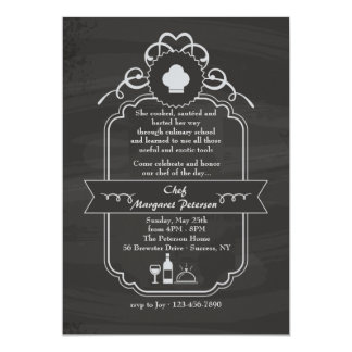 Chalkboard Chef Graduation Invitation