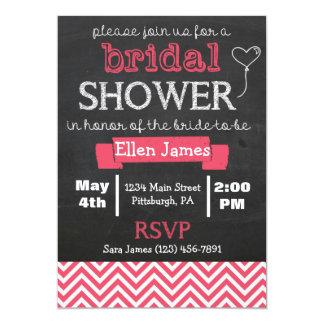 Chalkboard Chevron Bridal Shower Coral Pink 13 Cm X 18 Cm Invitation Card