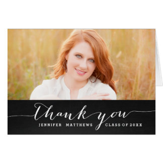 Chalkboard Chic | Graduation Photo Thank You Card