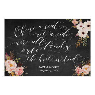 Chalkboard Choose a Seat Wedding Poster