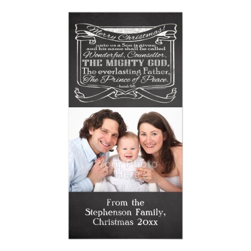 Chalkboard Christian Christmas Personalized Photo Card