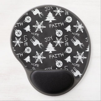 Chalkboard Christmas Fun Pattern Holiday Gel Mouse Pads