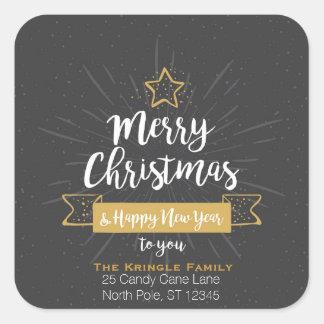 Chalkboard Christmas Happy New Year Family Address Square Sticker