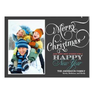 Chalkboard Christmas Holiday Photo Flat Card 11 Cm X 16 Cm Invitation Card