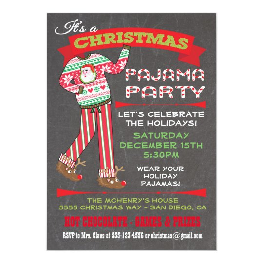Chalkboard Christmas Pajama Party Invitations