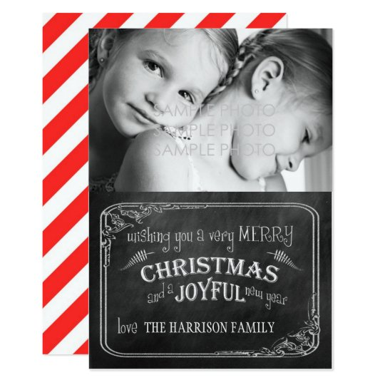 Chalkboard Christmas Photo Card//Red Stripes Card