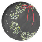 Chalkboard Christmas Plate Wreath Melamine