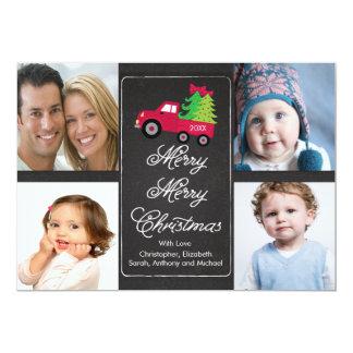 Chalkboard Christmas Tree 4 Photo Greeting Card