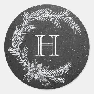 Chalkboard Christmas Wreath Monogram Classic Round Sticker