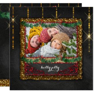 Chalkboard Christmas Yuletide Garland Gold Glitter Card