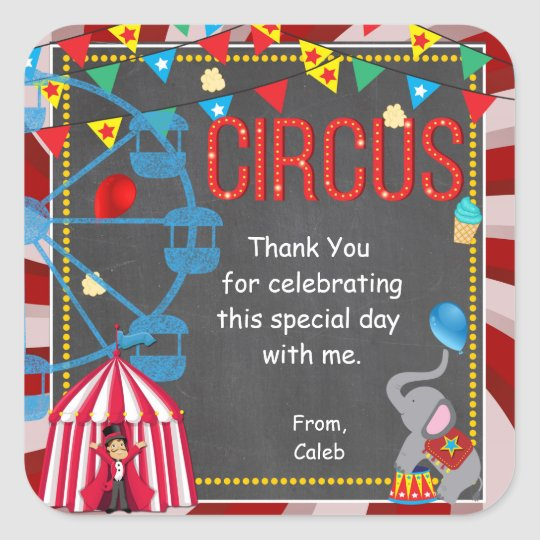 Chalkboard Circus Carnival Birthday Party Favour Square Sticker
