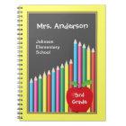 Chalkboard & Coloured Pencils Teacher Notebook