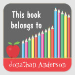 Chalkboard & Coloured Pencils, This book belongs Square Sticker