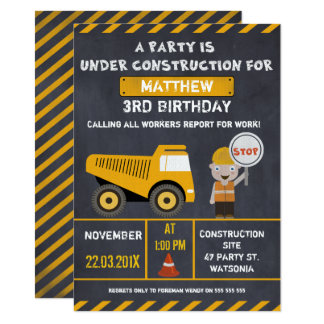Chalkboard Construction Birthday Party Invitation