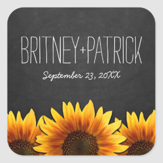 Chalkboard Country Rustic Sunflower Wedding Square Sticker