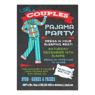 Chalkboard Couples Pajama Party Invitations