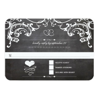 Chalkboard Cute Heart Initials Typography RSVP Invitation