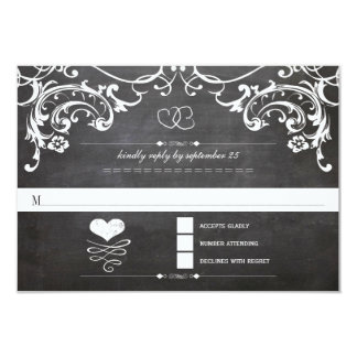 Chalkboard Cute Heart Initials Typography RSVP Invite