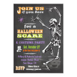 Chalkboard Dancing Skeleton Halloween Party Invite