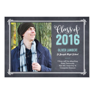 Chalkboard Delight Graduation Announcement Blue
