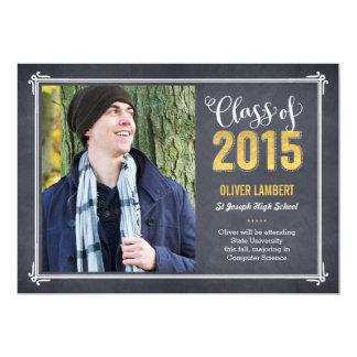 Chalkboard Delight Graduation Announcement Golden