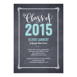 """Chalkboard Delight Graduation Invitation Blue 5"""" X 7"""" Invitation Card"""