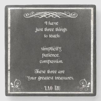 Chalkboard Design with Lao Tzu Inspirational Quote Stone Beverage Coaster