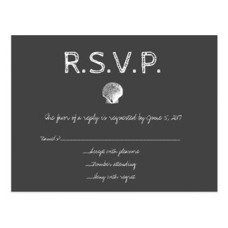Chalkboard destination wedding shell RSVP cards