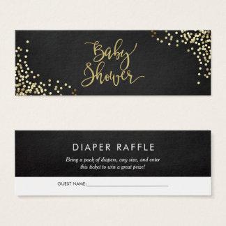 Chalkboard Diaper Raffle Gold Script & Confetti Mini Business Card