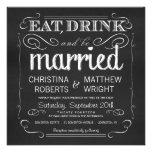 Chalkboard Eat Drink be Married Invitations