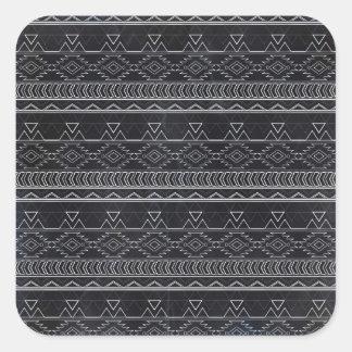 Chalkboard Effect Aztec Tribal Stripes Square Sticker
