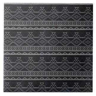 Chalkboard Effect Aztec Tribal Stripes Tile