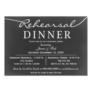 chalkboard Elegant Script Rehearsal Dinner Invites
