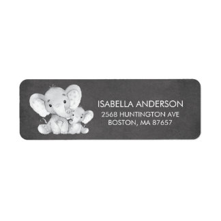 Chalkboard Elephant Baby Shower Address Label