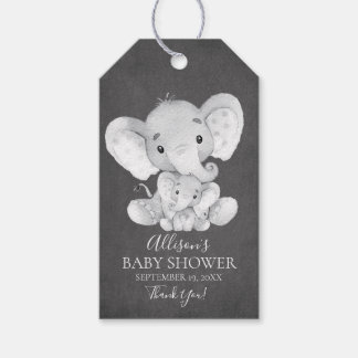 Chalkboard Elephant Baby Shower Favor Gift Tag