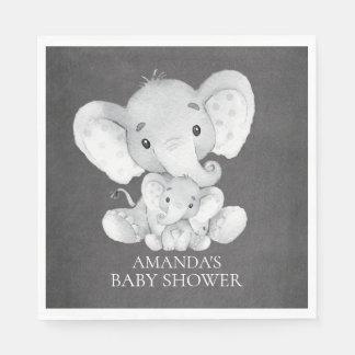 Chalkboard Elephant Boys Baby Shower Paper Napkins Disposable Serviette