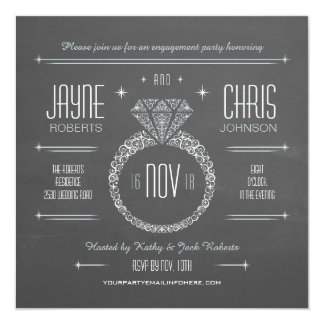 Chalkboard Engagement Ring Party Invitation