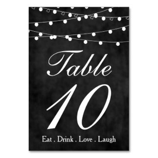 Chalkboard Fairy Lights & Hearts Party Table 10 Table Card