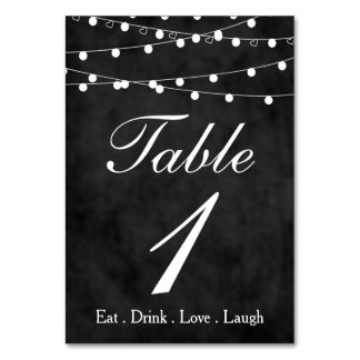 Chalkboard Fairy Lights & Hearts Party Table 1 Table Cards