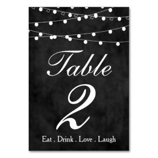 Chalkboard Fairy Lights & Hearts Party Table 2 Table Card