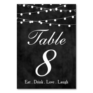 Chalkboard Fairy Lights & Hearts Party Table 8 Card