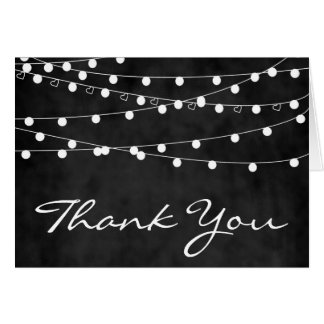 Chalkboard Fairy Lights & Hearts Thank You Card