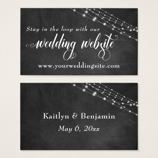 Chalkboard & Fairy Lights Wedding Website Business Card