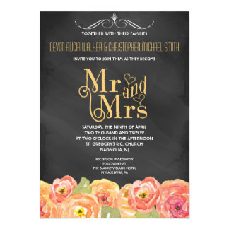 Chalkboard Fall Floral Watercolor Wedding Invite