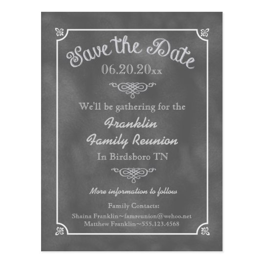 Chalkboard Family Reunion or Party Save the Date