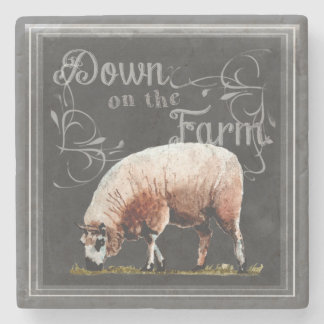 Chalkboard Farm | Down on the Farm Sheep Stone Coaster